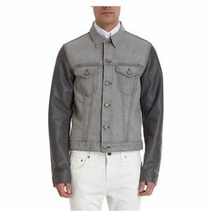 J BRAND OWEN JEAN JACKET LEATHER SLEEVES GRAY